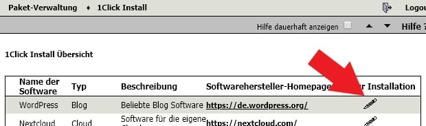 OneCklick WordPress Installation mit WebGo