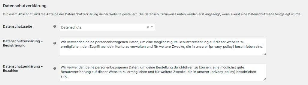 WooCommerce Datenschutz